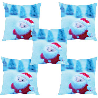 Sleep NatureS Happy Christmas Day Printed Cushion Covers Set Of Five
