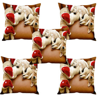 Sleep NatureS Dogs Printed Cushion Covers Set Of Five