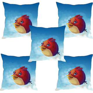 Sleep NatureS Angry Bird Printed Cushion Covers Set Of Five