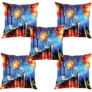 Sleep NatureS Couple Painting Printed Cushion Covers Set Of Five