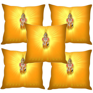 Sleep NatureS Happy Diwali Printed Cushion Covers Set Of Five