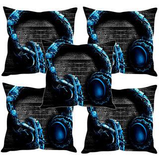 Sleep NatureS Headphone Printed Cushion Covers Set Of Five