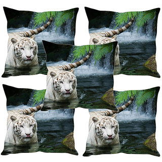 Sleep NatureS White Lion Printed Cushion Covers Set Of Five