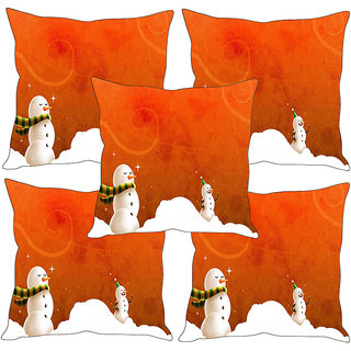Sleep NatureS Snowman Printed Cushion Covers Set Of Five