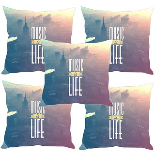 Sleep NatureS Music Is Life Printed Cushion Covers Set Of Five