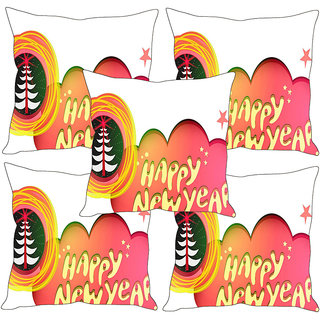 Sleep NatureS Happy New Year Printed Cushion Covers Set Of Five