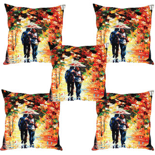 Sleep NatureS Couple Printed Cushion Covers Set Of Five