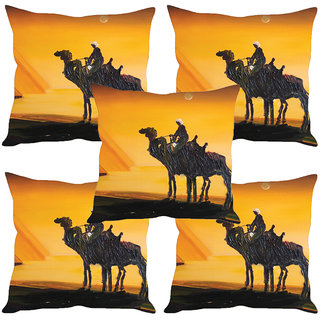 Sleep NatureS Camel Painting Printed Cushion Covers Set Of Five