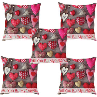 Sleep NatureS Heart Printed Cushion Covers Set Of Five
