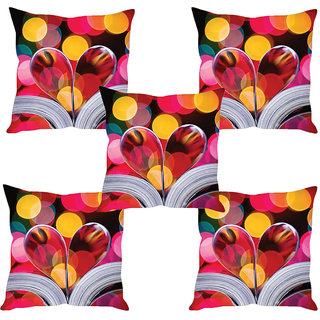 Sleep NatureS Heart Printed Cushion Covers Set Of Five