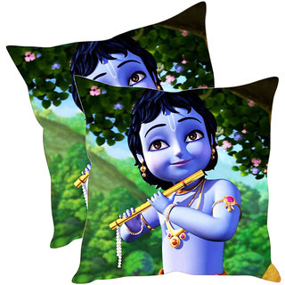 Sleep NatureS Krishna Cartoon Printed Cushion Covers Pack Of 2