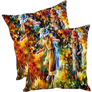 Sleep NatureS Two Girls Printed Cushion Covers Pack Of 2