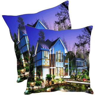 Sleep NatureS Beautiful House Printed Cushion Covers Pack Of 2