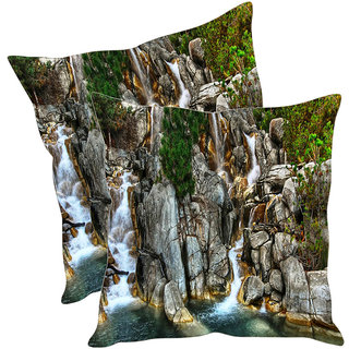 Sleep NatureS Water Fall Printed Cushion Covers Pack Of 2