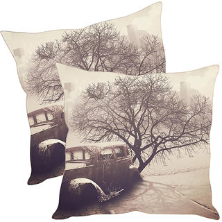 Sleep NatureS Old Car Printed Cushion Covers Pack Of 2