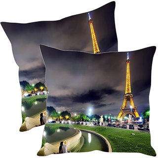 Sleep NatureS Eiffel Printed Cushion Covers Pack Of 2