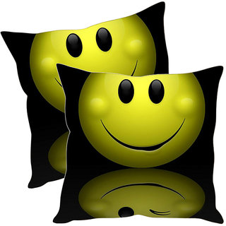Sleep NatureS Smiley Printed Cushion Covers Pack Of 2