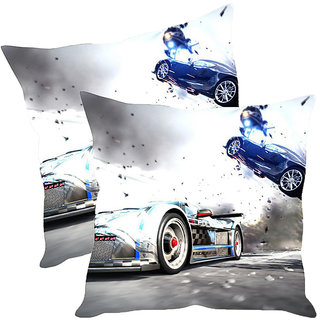 Sleep NatureS Car Printed Cushion Covers Pack Of 2