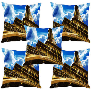 Sleep NatureS Eiffel Tower Printed Cushion Covers Set Of Five