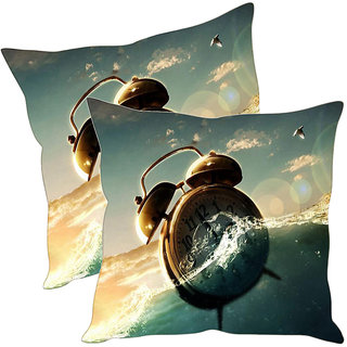 Sleep NatureS Alarm Clock Printed Cushion Covers Pack Of 2