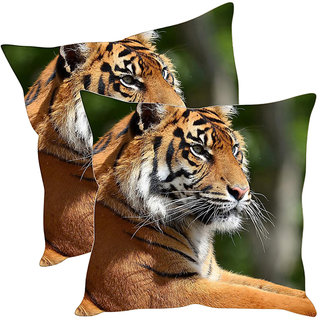 Sleep NatureS Tiger Printed Cushion Covers Pack Of 2