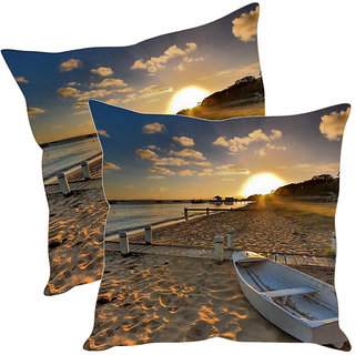Sleep NatureS Sunset Printed Cushion Covers Pack Of 2
