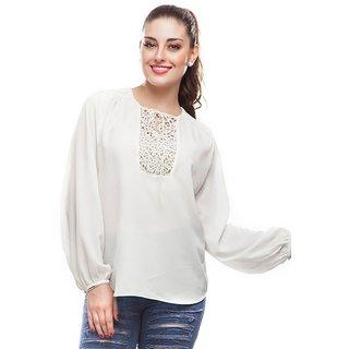 Dusky Flower Womens White Long Sleeve Top