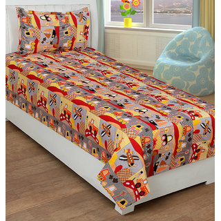 BSB Trendz Printed Single Cotton Kids Bedsheet With 1 Pillow Covers  Multicolor