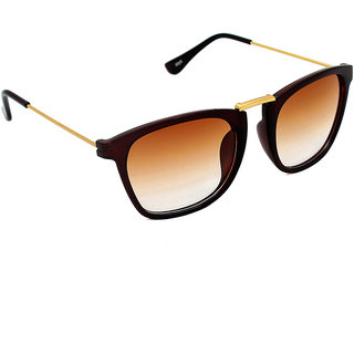 6by6 Golden  Brown Wayfarer Unisex Sunglasses