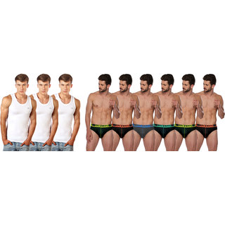 Lux Cozi Pack of 3 White Cotton Vests and 6 Assorted Briefs