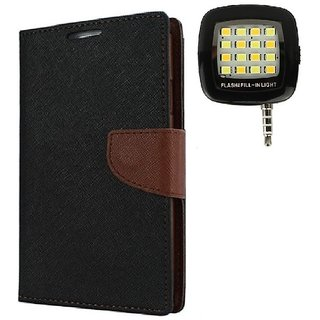 YGS Premium Diary Wallet Mobile Case Cover For Micromax Canvas Spark Q380-Brown With Photo Enhancing Flash Light