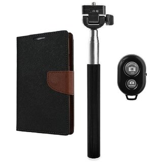 YGS Premium Diary Wallet Mobile Case Cover For Micromax Canvas Spark Q380-Brown With Extendable Selfie Stick and  Bluetooth Shutter Remote