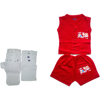 baby white 5daiper nappy and 3vest baby 1set cotton dress