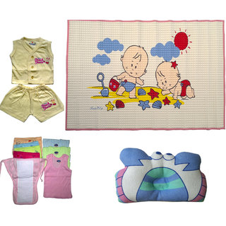 baby colour daiper nappy vest massage sheet cotton dress with polyster and cotton plilow