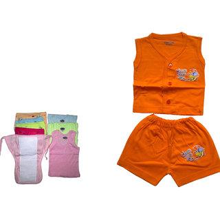 baby cotton dress with colour daiper nappy vest
