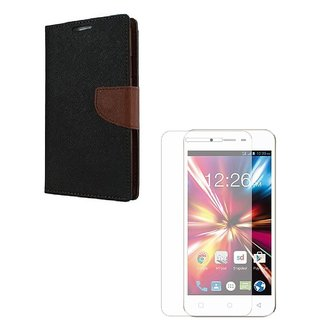 YGS Premium Diary Wallet Mobile Case Cover For Micromax Canvas Spark Q380-Brown With Tempered Glass