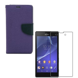 YGS Premium Diary Wallet Case Cover For Sony Xperia T2 Ultra-Purple With Tempered Glass