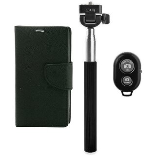 YGS Premium Diary Wallet Mobile Case Cover For  Micromax Canvas Juice 2 AQ5001-Black With Extendable Selfie Stick and  Bluetooth Shutter Remote