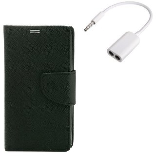 YGS Premium Diary Wallet Mobile Case Cover For  Micromax Canvas Juice 2 AQ5001-Black With Audio Splitter