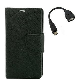 YGS Premium Diary Wallet Mobile Case Cover For  Micromax Canvas Juice 2 AQ5001-Black With Micro OTG