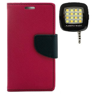 YGS Premium Diary Wallet Mobile Case Cover For Micromax Canvas Spark Q380-Pink With Photo Enhancing Flash Light