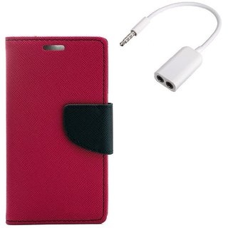 YGS Premium Diary Wallet Mobile Case Cover For Micromax Canvas Spark Q380-Pink With Audio Splitter
