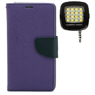 YGS Premium Diary Wallet Mobile Case Cover For Micromax Canvas Spark Q380-Purple With Photo Enhancing Flash Light
