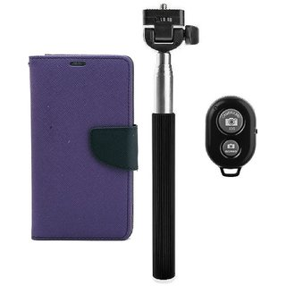 YGS Premium Diary Wallet Mobile Case Cover For Micromax Canvas Spark Q380-Purple With Extendable Selfie Stick and  Bluetooth Shutter Remote