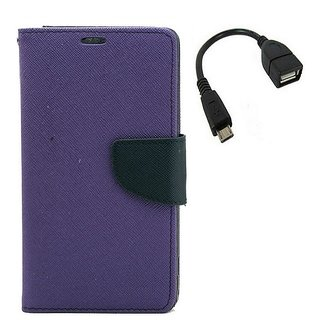 YGS Premium Diary Wallet Mobile Case Cover For Micromax Canvas Spark Q380-Purple With Micro OTG
