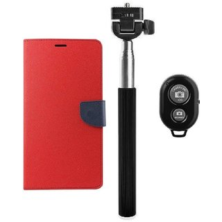 YGS Premium Diary Wallet Mobile Case Cover For Micromax Canvas Spark Q380-Red With Extendable Selfie Stick and  Bluetooth Shutter Remote