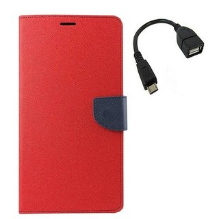 YGS Premium Diary Wallet Mobile Case Cover For Micromax Canvas Spark Q380-Red With Micro OTG