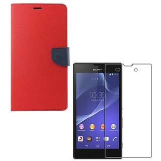 YGS Premium Diary Wallet Case Cover For Sony Xperia Z3-Red With Tempered Glass