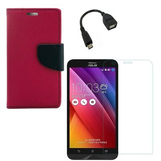 YGS Premium Diary Wallet Case Cover For Asus Zenfone 6 A600CG-Pink With Tempered Glass and Micro  With Micro OTG