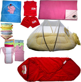 new born baby combo set.1 towel,1 cotton dress,7face towel,1drysheet,1net bed,5 nappy,3vest,1 wraping sheet